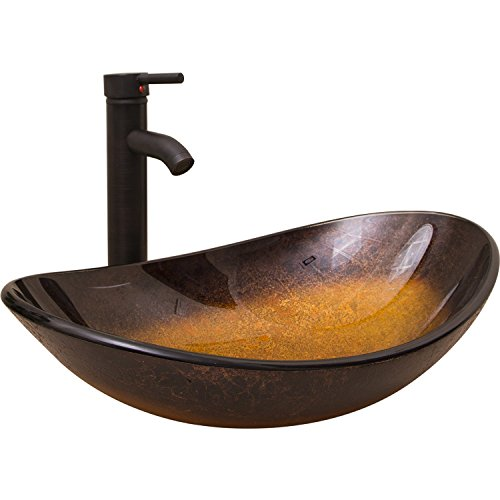Bathjoy Artistic Bathroom Oval Vessel Sink Boat Shape Combo With Oil