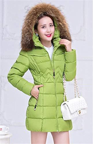 Elégante Hiver Slim Battercake Fourrure Épaissir Taille Mode Doudoune Manteau Avec Outdoor Parka Fit Capuchon Femme Longues Manches Grande Grün Chic Warm xAgYvOqwA