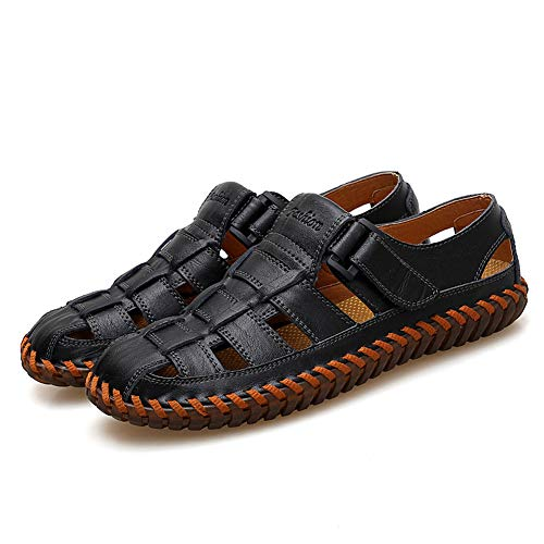 Qiucdzi Mens Sport Sandals Breathable Outdoor Fisherman Shoes Adjustable Closed Toe Summer Leather Loafters Black ()