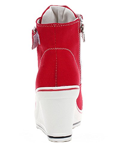 Pump Shoes UP Wedges Womens High Lace Shoes Padgene Zipper Side Canvas Heeled Red Sneaker 2 High Fashion Y1qn8CBxw
