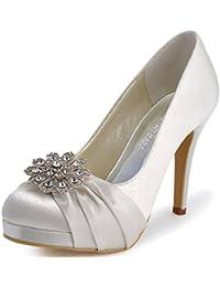 elegantpark women pumps closed toe platform high heel buckle satin evening party wedding shoes
