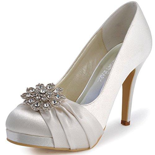 ElegantPark EP2015 Women Pumps Closed Toe Platform High Heel Buckle Satin Wedding Bridal Shoes Ivory US 8
