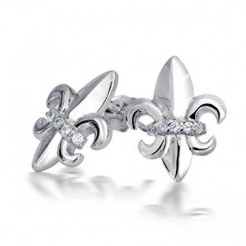 Pave CZ Accent Fleur De Lis Stud Earrings For Women 925 Sterling Silver ()