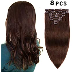 "Real Clip in Hair Extensions Medium Brown 8 Pieces - Premium Womens Straight Double Weft Thick Remy Hair Extensions Clip in on Human Hair for Long Hair (16"" / 16 inch, 4, 102 grams/3.6 Oz)"