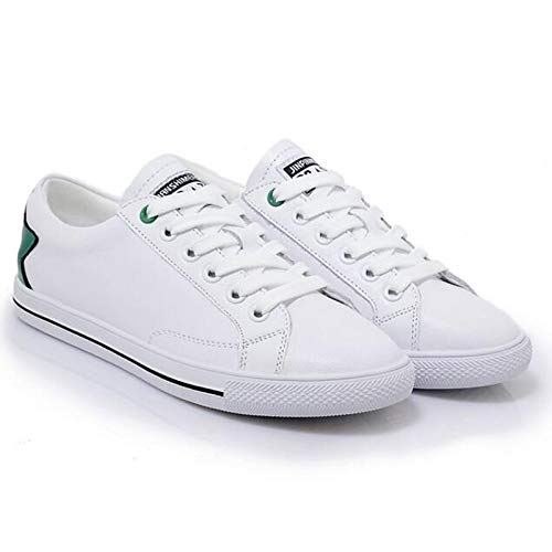ZHZNVX Zapatos de Mujer Nappa Leather Spring Comfort Sneakers Flat Heel Closed Toe Black/Green Green
