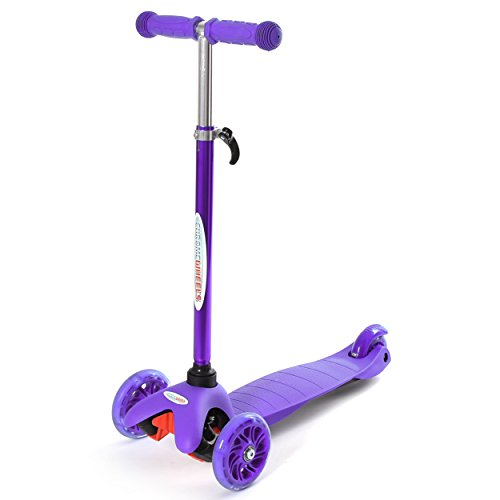 ChromeWheels Scooter for Kids, Deluxe 4 Adjustable Height 3 Wheels Glider with Kick, Lean to Steer with LED Flashing Light, Purple
