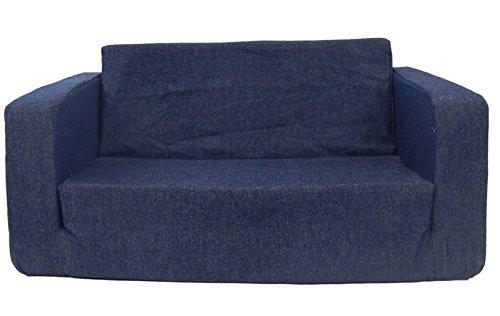 Fun Furnishings 55101 Toddler Flip Sofa in Denim Fabric Dark Blue