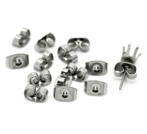 PEPPERLONELY Brand 50 Pair Stainless Steel Ear Nuts Earring Post Backs 7x4mm (2/8x 1/8 Inch) ()