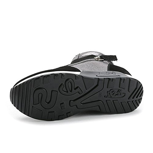 Giy Femmes Mode Haute Top Sneaker Plate-forme Augmenté Hauteur Wedge Casual  Sport Chaussures Noir ... 3f2a2896a6e5