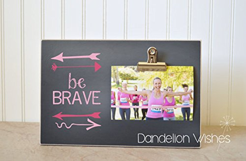 Breast Cancer Survivor Gift, Pink Ribbon, BE BRAVE Picture Frame, Breast Cancer Awareness Gift, Breast Cancer Gift Idea, Custom Photo ()