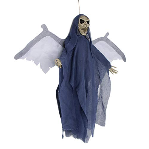 SM SunniMix Scary Voice Control Hanging Ghost with Wing Halloween Decoration Haunted House - Grey -