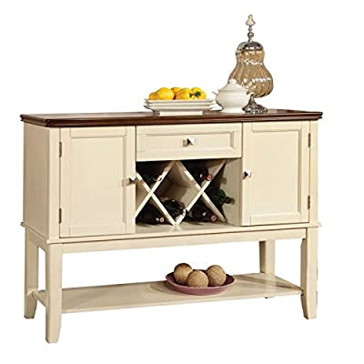 Furniture of America Delila Wine Rack Sideboard in Vintage White - Vintage white and cherry finish Materials: wood, veneer Cherry-finished surface with moulded trim - sideboards-buffets, kitchen-dining-room-furniture, kitchen-dining-room - 410ENNhLg3L. SS400  -
