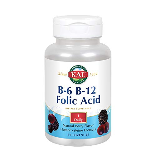 KAL B-6, B-12 Folic Acid Lozenge, 50 mg/400 mcg/400 mcg, 60 Count