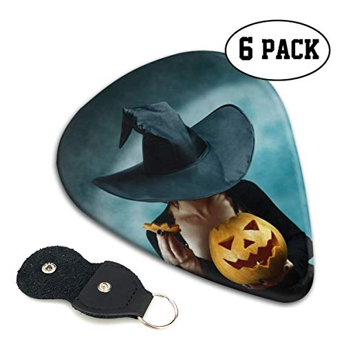 Nice Music Mystery Witch Opening Halloween Carved Pumpkin Ultra Thin 0.46 Med 0.71 Thick 0.96mm 4 Pieces Each Base Prime Celluloid Ivory Jazz Mandolin Bass Ukelele Plectrum Guitar Pick Pouch Display]()