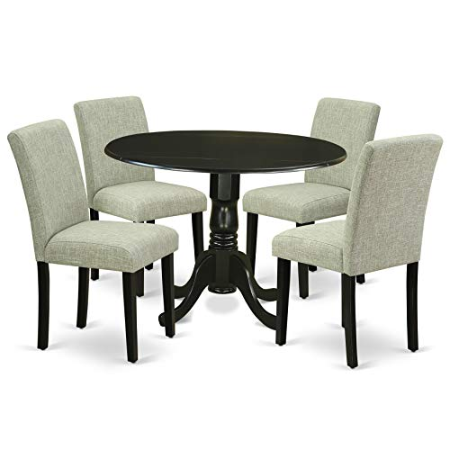 "East West Furniture DLAB5-BLK-06 5Pc Round 42"" Kitchen Table with Two 9-Inch Drop Leaves and Four Parson Chair with Black Leg and Linen Fabric Shitake, 5,"