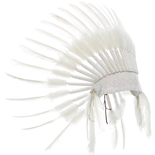 KIDS SIZE Feather Headdress - Adjustable - Native American Inspired - All White