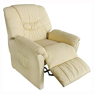 HomyDelight Electric Massaging Chair, Electric Massage Chair Cream Artificial Leather