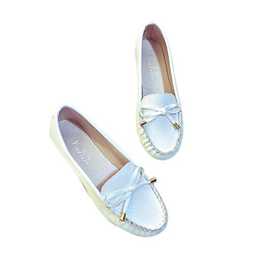 Rawdah Mujeres Flats Zapatos Casual zapatos de mujer se desliza plana plana zapatos de mujer Blanco