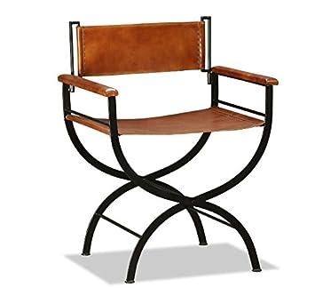 Vintage Industrial Armchair Genuine Leather Chair Rustic Style Steel Metal  Frame Folding Seat Dining Living Room