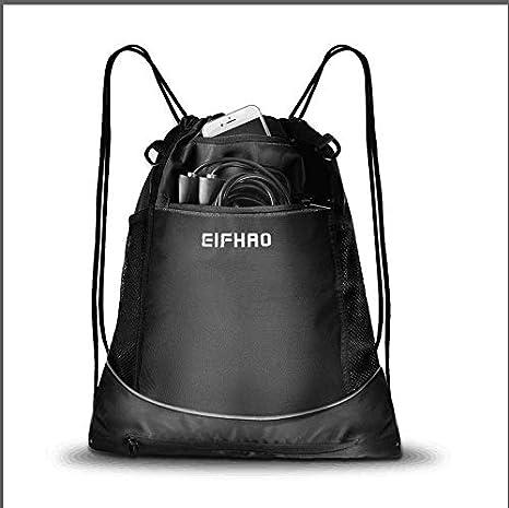 eb6e9f7ead40 Elfhao Drawstring Backpack Bag Men & Women Sports Gym Sackpack Waterproof  ,Tote Bag, Sports Sack, Light Backpack, Soccer Bag, Baseball (Black)
