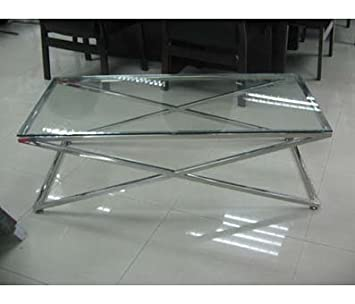 Criss Cross Coffee Table.Criss Cross Coffee Table Clear Glass Stainless Steel Amazon Co Uk