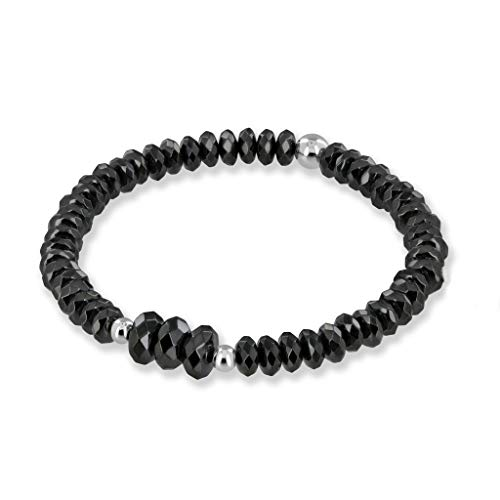 Believe London Hematite Magnetic Therapy Bracelet with Jewelry Bag & Meaning Card | Strong Elastic | Precious Natural Stones Healing (Hematite Dainty 6.5