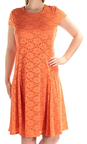 Alfani Floral Dress - Alfani Coral Womens Eyelet Floral-Lace A-Line Dress Orange 8
