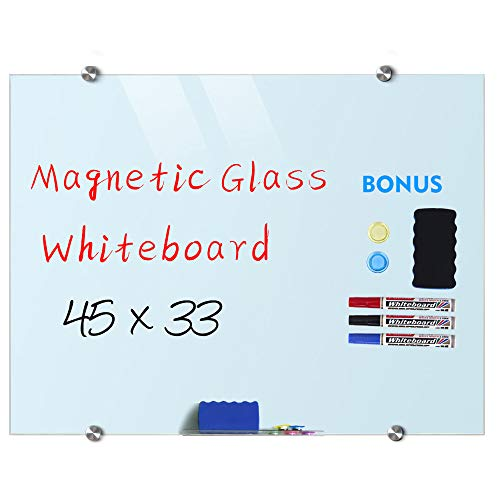 Magnetic Glass Whiteboard Dry Erase Board, 45 X 33 Magnetic Glass Board Large Whiteboards Glasses for Interactive Office Wall Frameless White Glassboard with Marker Tray