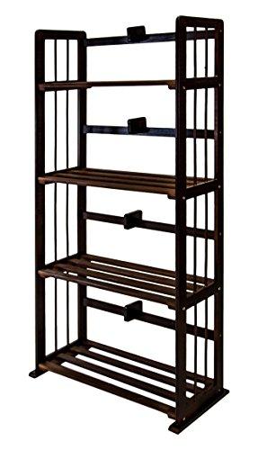 (Furinno FNCL-33002-C1 Pine Solid Wood 4-Tier Bookshelf, Espresso)