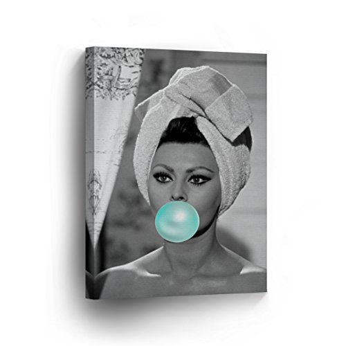 Sophia Loren Teal Blue Bubble Gum Chewing Gum Black and White Wall Art CANVAS PRINT Sexy Icon in Shower Pop Art Home Decor Artwork Gallery Stretched and Ready to Hang %100 Handmade in the USA -22x15