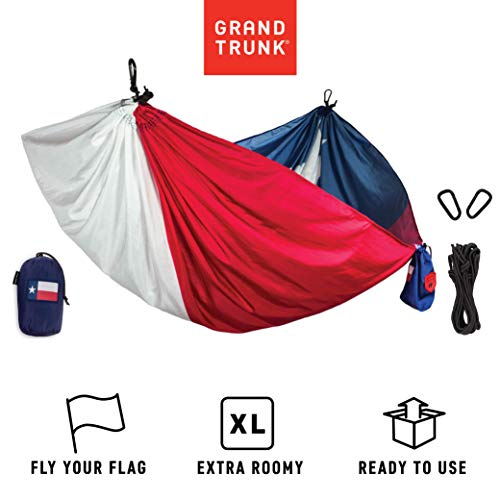 Grand Trunk Texas Flag Hammock - Camping Single, Tree Hanging Kit Included, Parachute Nylon, Portable, Indoor Outdoor, Travel, Backpacking, Survival