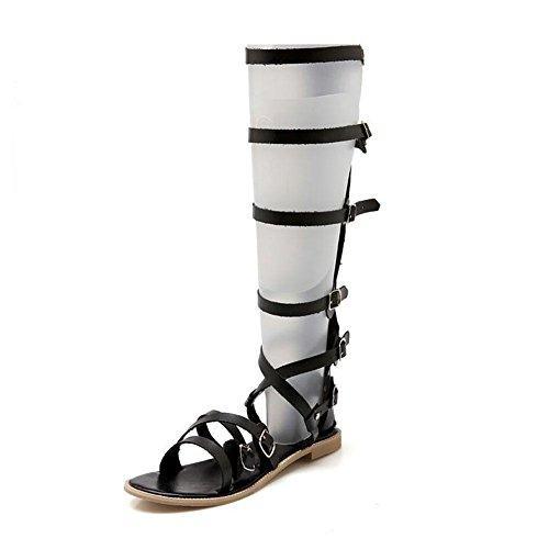 SYY Cuero de Euramerican de las mujeres a cielo abierto cruz de la hebilla sandalias con plano ocasional Black