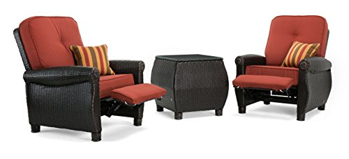 La-Z-Boy Outdoor Breckenridge 3 Piece Resin Wicker Patio Furniture Set (Brick Red): 2 Recliners  and Side Table With All Weather Sunbrella Cushions