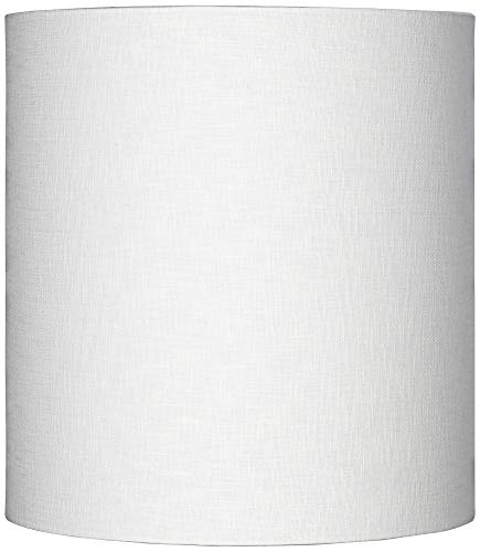 White Tall Linen Drum Shade 14x14x15 (Spider) - Brentwood ()