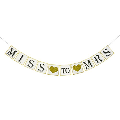 Gold Glitter Miss to Mrs Banner for Bridal Shower and Bachelorette Party - Decorations and Photo Prop (Miss Photo)