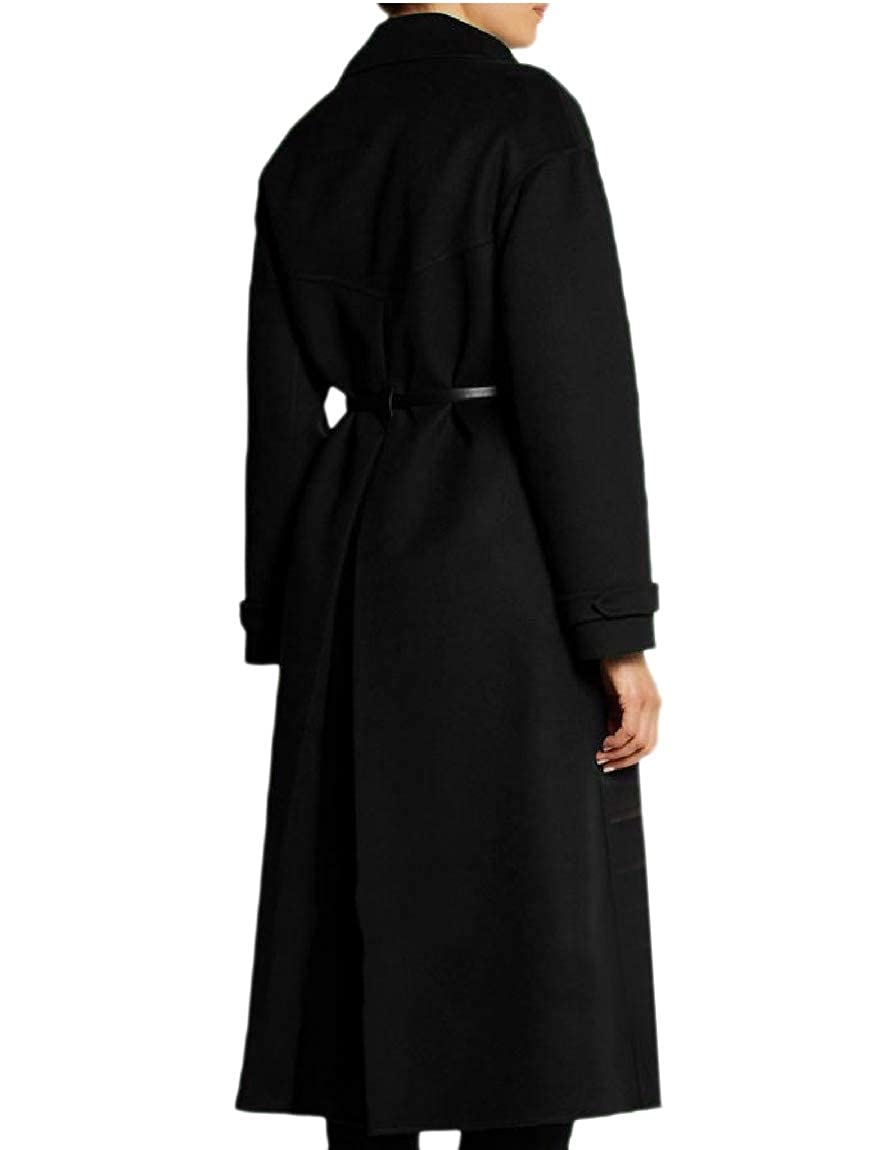 YUNY Women Premium Notch Collar Classics Belted Wool Blended Pea Coat Black M