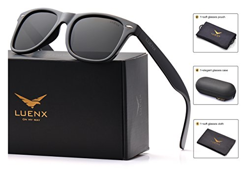 Mens Wayfarer Polarized Sunglasses for Womens UV 400 Protection Black Lens Glossy Black Frame 54MM ,by LUENX with - Men Sunglass
