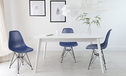 GIA Navy Blue Armless Home Office/Side Dining Chair(Set of 4) - Eames Style - Metal Legs - Seat Height 18 inch - Weight Capacity of 300+ Pounds - Easy Assembly - Extra Durable and Comfortable (Blue Chair Easy)