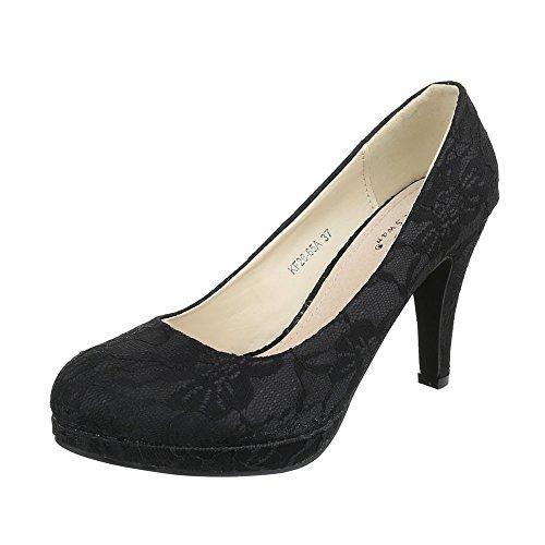 femme Design compensées Ital Noir chaussures 7ATnxF