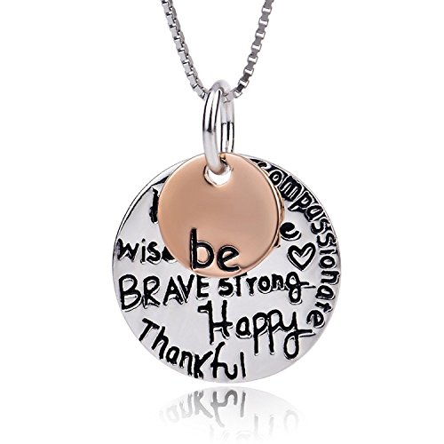 BE BRAVE STRONG HAPPY THANKFUL KIND WISE FREE TRUE COMPASSIONATE Pendant Necklace Inspirational Jewelry