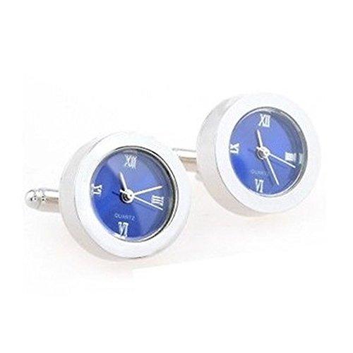 - Blue Functional Clock Watch Quartz Cufflinks Wedding Gift