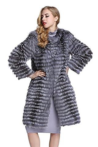 Top Fur Women's Natural Sliver Fox Fur Long Overcoat Jacket (US12)