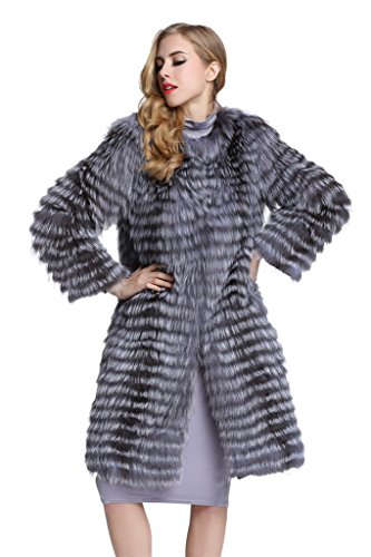 [Top Fur Women's Natural Sliver Fox Fur Long Overcoat Jacket (US14)] (Faux Chain Hooded Costumes)
