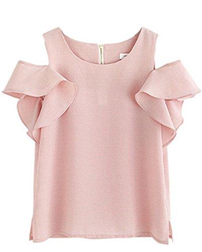 T Elgant Col Top Mode en Shirt Casual Nue Mousseline Volants avec Courtes Tunique Haililais pink Femme Rond Manches Haut Chemise Blouse Epaule tUFZwT