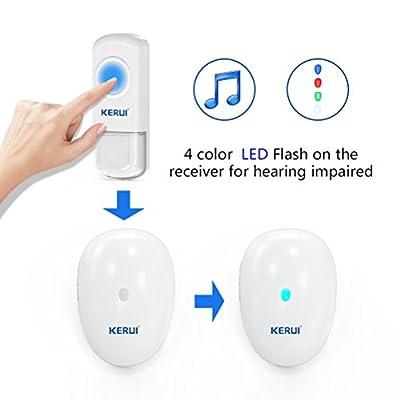 Wireless Doorbell Waterproof,Over 500-Feet Rang Operating,4color Indicator,46 Chimes Door Bell Kit
