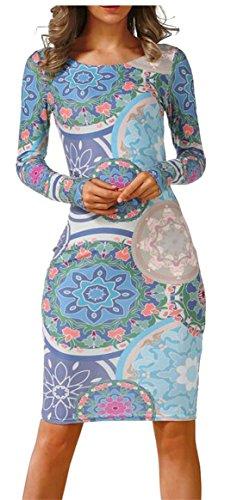 Crew 17 Slim Digital Neck Womens Fit Midi Sleeve Print Jaycargogo Long Fashion Dress 6nFHqgEw