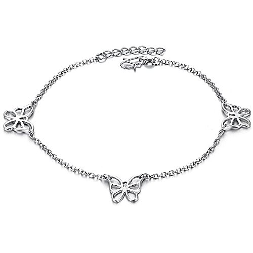 (Platinum Tone Stunning Lucky Butterfly Anklets L9.72