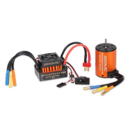 Motor Truck (GoolRC Upgrade Waterproof 3650 3500KV Brushless Motor with 60A ESC Combo Set for 1/10 RC Car Truck)