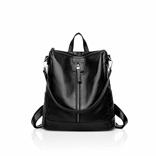 Nicole Backpack (NICOLE&DORIS New Vintage Woman Backpack Shoulder Bag Convertable Casual Retro Soft Leather Black)