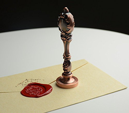 MNYR Custom Picture Logo Monogram Luxury Rose Gold Metal Peacock Handle Wedding Invitations Gift Cards Stationary Wax Seal Sealing Stamp Wax Sticks Melting Spoon Stamp Maker Wood Gift Box Kit Set by MNYR (Image #6)
